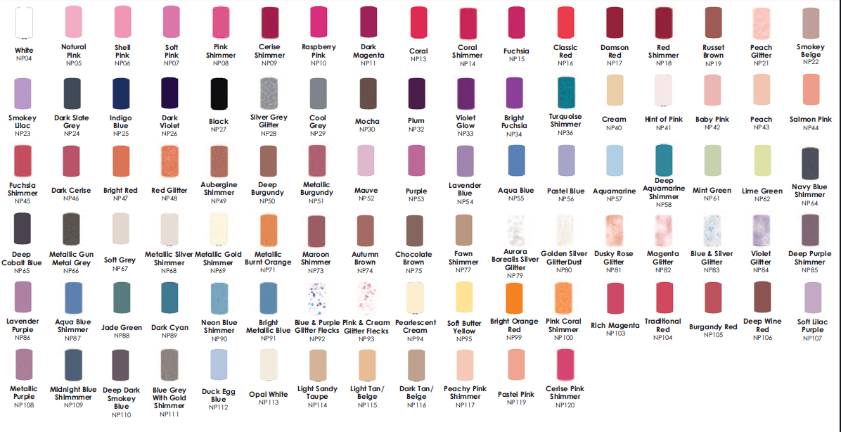 Nail Polish Colour Chart